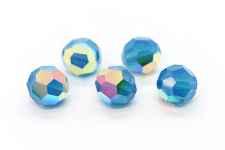 Caribbean Blue Opal AB Swarovski Crystal Round Beads 5000 - Factory Pack