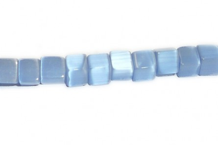 Light Blue, Fiber Optic, Cat's Eye Glass, Cube Beads