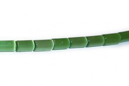 Green Fiber Optic Glass (Cat's Eye) Tube Beads