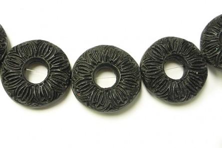 Black  ( Imitation ) Cinnabar Beads  - Donut with Hole Through the Middle - CB-03