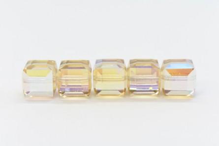 Ceylon Topaz AB Swarovski Crystal Cube Beads 5601