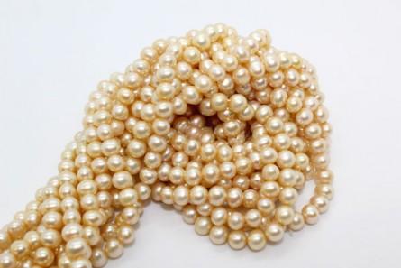 Potato Freshwater Pearls - Champagne - A Grade - 5mm