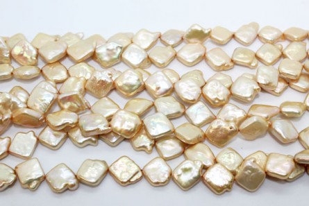 Square ( Diagonally Drilled ) Freshwater Pearl -Champagne / Beige, ( Dyed  ) 10mm