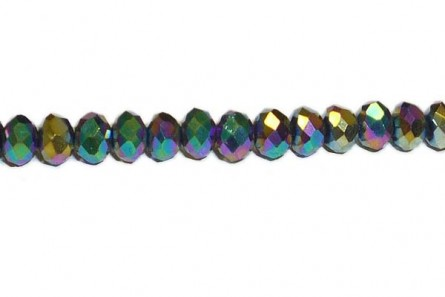 Green/Purple/Yellow Metallic Chinese Crystal Rondelle Glass Beads - Opaque