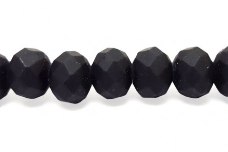 Black Matte Chinese Crystal Rondelle Glass Beads - Opaque