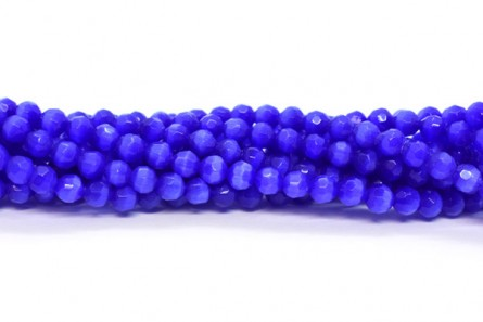 Cobalt Blue Fiber Optic Glass (Cat's Eye) Faceted Round Beads