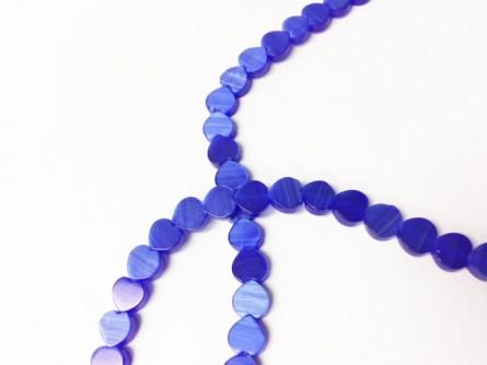 Cobalt Blue Fiber Optic, Cat's Eye Glass, Flat Heart Beads