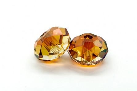 Crystal Copper 5041 Swarovski Elements Crystal 3.5mm Large Hole Faceted Briolette (Rondelle ) Bead