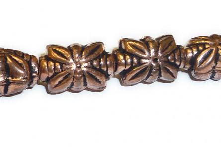 Copper,Antique Oxidized, Rectangle Four Petal Flower Beads 9x14mm