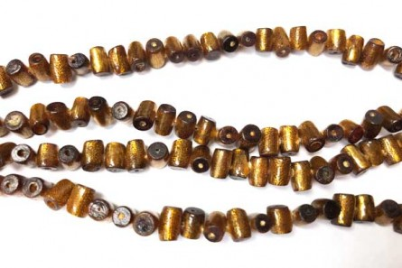 Coral, Brown, Golden, Natural, Diagonal Tube Beads