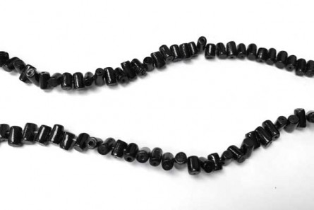 Coral ,Black , Dyed, Diagonally Drilled Tube Beads