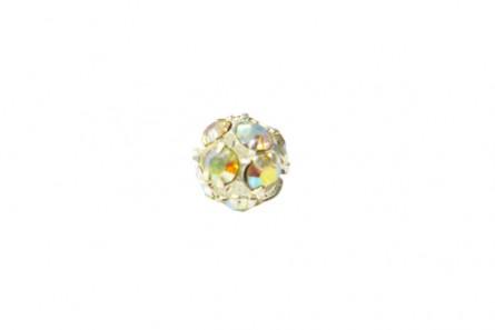 Crystal AB/Silver Plate Swarovski Crystal Rhinestone Prong Set Pavé Round Bead -6mm