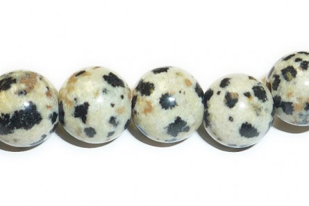 Dalmatian Jasper (Natural) A Grade Big Hole Round Gemstone Beads