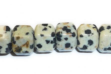 Dalmatian Jasper ( Natural ) A grade Big Hole Six Sided Drum Gemstone Beads
