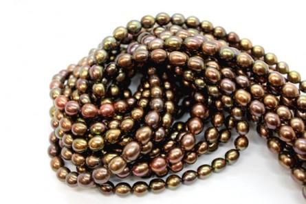 Rice Freshwater Pearls - Brown, Dark, A Grade