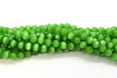Bright Green Fiber Optic Glass (Cat's Eye) Faceted Round Beads