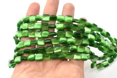 Dark Green Fiber Optic (Cat's Eye) Glass Beads – Pillow/Square