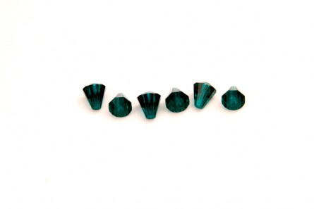 Bead, Emerald Swarovski Crystals, Faceted Crystal Cone (5400) 6.6x6mm.