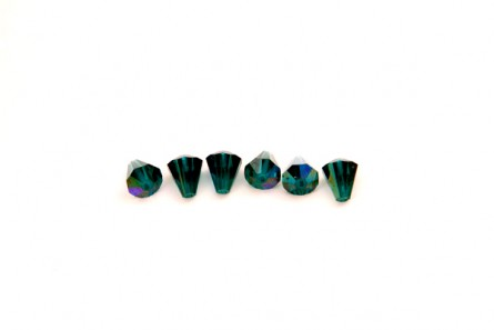 Bead, Emerald AB Swarovski Crystals, Faceted Crystal Cone (5400) 6.6x6mm.