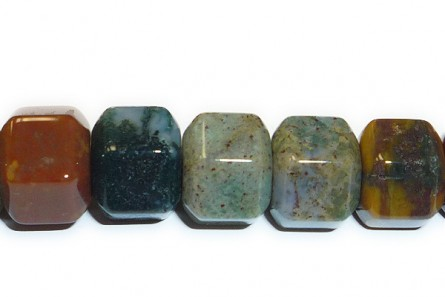 Fancy Jasper ( Natural ) A grade Big Hole Six Sided Drum Gemstone Beads