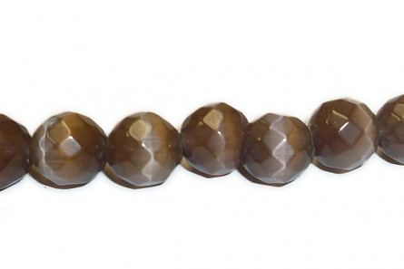 Brown Fiber Optic (Cat's Eye) Faceted Round Glass Beads