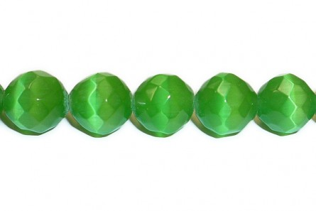 Dark Green Fiber Optic (Cat's Eye) Faceted Round Beads