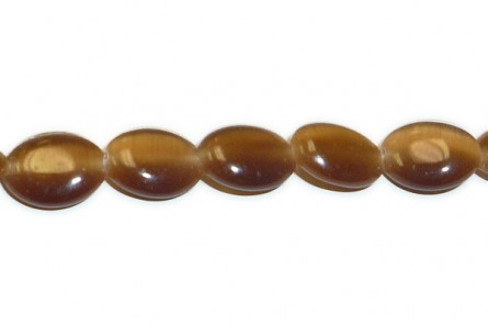 Brown Fiber Optic (Cat's Eye) Flat Oval Beads