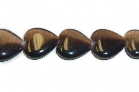 Dark Purple Fiber Optic (Cat's Eye) Glass Puffy Heart Shaped Beads