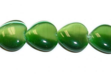 Dark Green Fiber Optic (Cat's Eye)Puffy Heart Beads