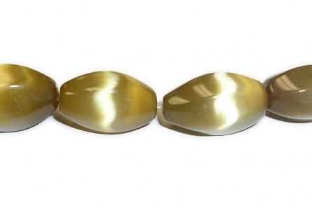 Gold  Fiber Optic (Cat's Eye) Twisted Oval Beads