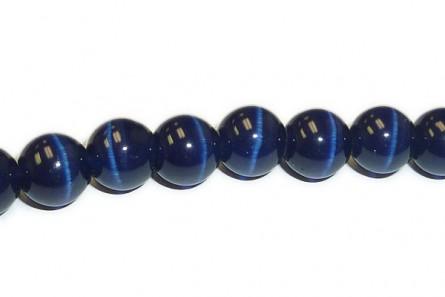 Dark Blue Fiber Optic (Cat's Eye) Round Beads