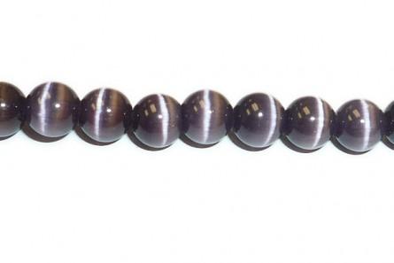 Dark Purple Fiber Optic (Cat's Eye) Round Beads