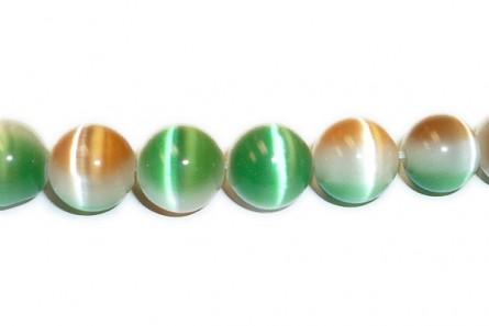 Green, Orange & White Fiber Optic Glass (Cat's Eye) Smooth Round Beads