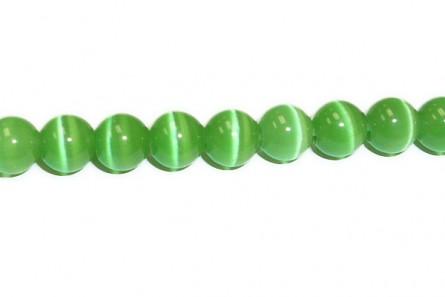 Green Fiber Optic Glass (Cat's Eye) Smooth Round Beads