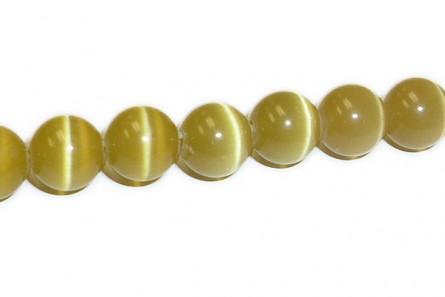 Honey Gold Fiber Optic Glass (Cat's Eye) Smooth Round Beads