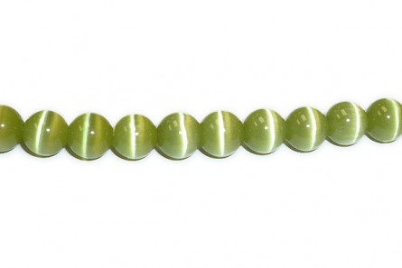 Khaki Green Fiber Optic Glass (Cat's Eye) Smooth Round Beads