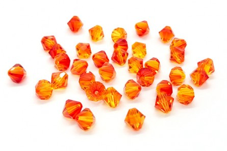 Fire Opal Swarovski Crystal Bicone Beads 5301/5328 - Factory Pack Quantity