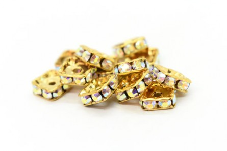 Gold Plated Brass / Crystal AB Swarovski Crystal Rhinestone Squaredelle Spacer Bead