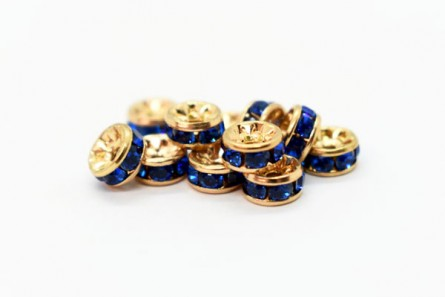 Gold Plated Brass / Capri Blue Swarovski Crystal Rhinestone Rondelle Spacer Bead