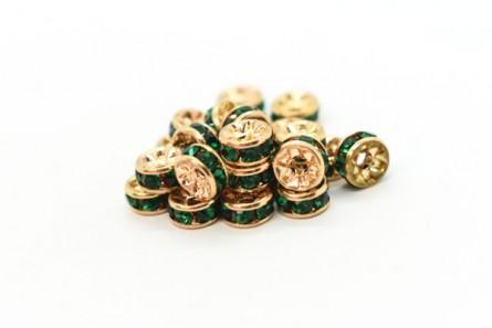 Gold Plated Brass / Emerald Swarovski Crystal Rhinestone Rondelle Spacer Bead