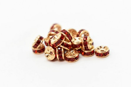 Gold Plated Brass / Light Siam Swarovski Crystal Rhinestone Rondelle Spacer Bead