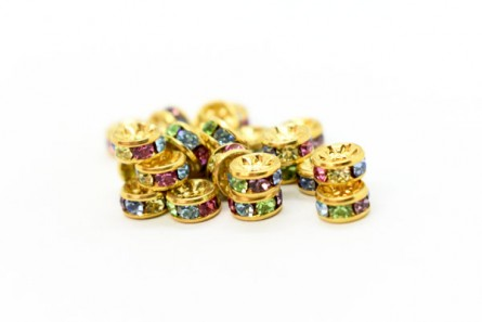 Gold Plated Brass / Multi Colored Spring, Swarovski Crystal Rhinestone Rondelle Spacer Bead