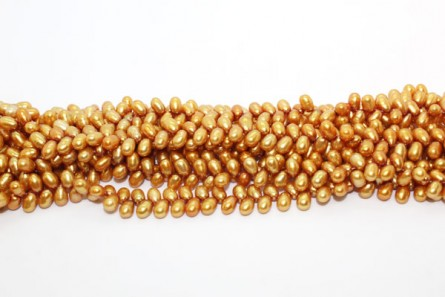 Herringbone Drilled Rice Freshwater Pearls - Gold - A Grade