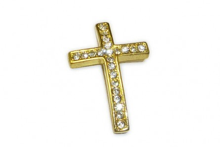 Gold Plate Pave Crystal Cross,25x38mm