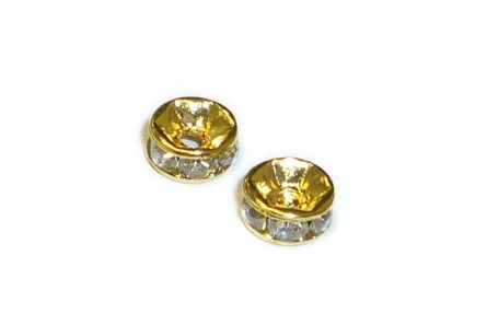 Clear Crystal Cubic Zirconia Rondelle Spacer Bead - Gold Plate Over Pewter