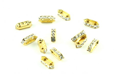 Gold  / Crystal Swarovski Crystal 2 hole Rectangle Rhinestone Spacer Bar Bead