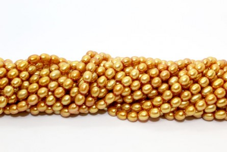 Rice Freshwater Pearls - Gold Medium - A Grade