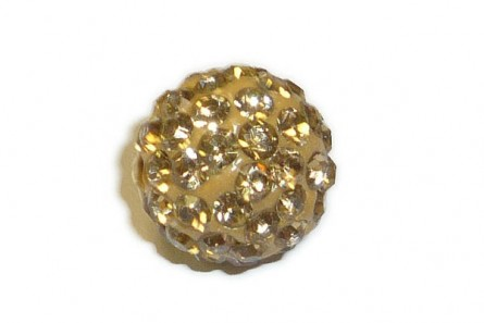 Brown , Light / Beige Chinese Crystal Pave Round Bead