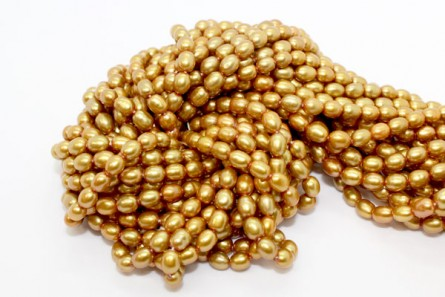 Rice Freshwater Pearls - Gold
