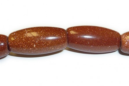 Brown Goldstone (Man Made) Rice/Oval Gemstone Beads - Large Hole (Sale)